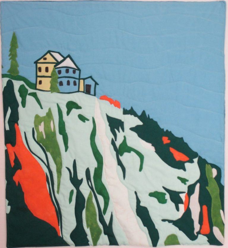 A vintage travel poster inspired this small quilt